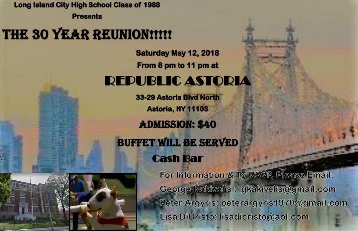 Long Island City High School Class of 1988 30 Year Reunion