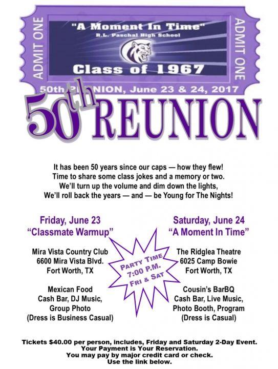 CLASS OF 1967: 50TH REUNION www.paschal67.com