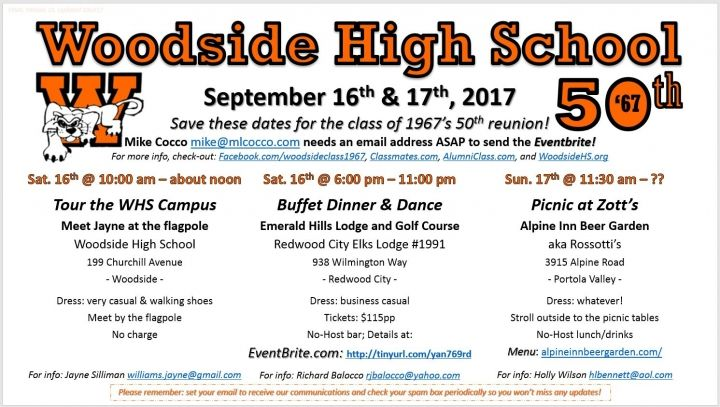 "Woodside High School ""Class of 1967"" 50th Reunion in 2017"
