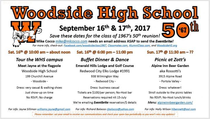 "Woodside High School ""Class of 1967"" 50th Reunion"