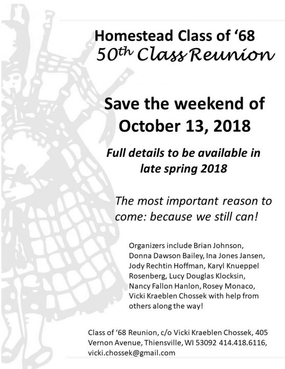 Homestead '68 50th Reunion (Mequon WI)