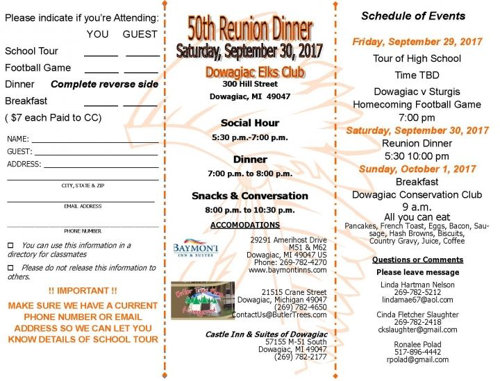 Dowagiac Union High Class of '67 50th Reunion