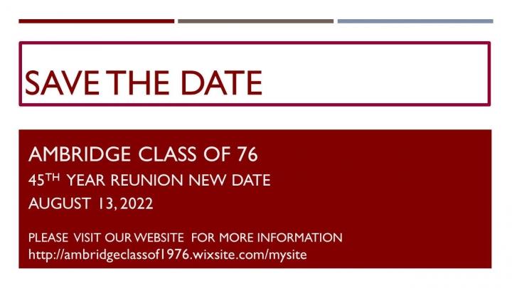 "Ambridge Class of '76 ~ ""45th Reunion"""