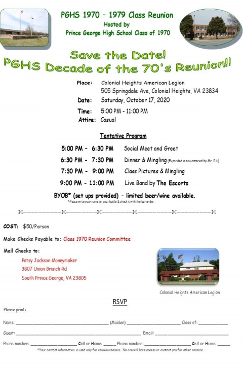 PGHS 70's Class Reunion - Featuring 50th Reunion of 1970
