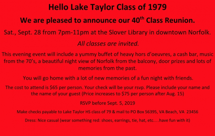 LTH class of '79 (and friends) 40th reunion