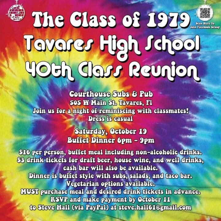 Tavares High School Class of 1979 40th Year Reunion!