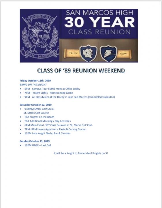 Class of 1989 *30 Year Reunion*