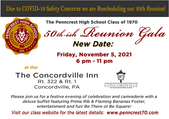 Penncrest Class of '70 50th Reunion Reschedule to 2021