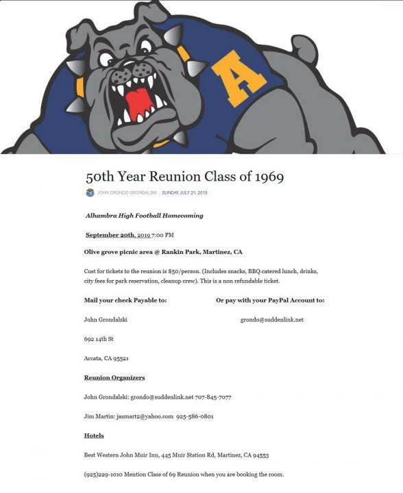 Class of 1969 50 year Class reunion