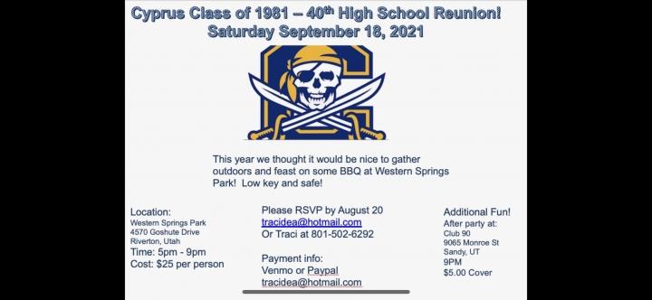 Class of '81 - 40 year reunion
