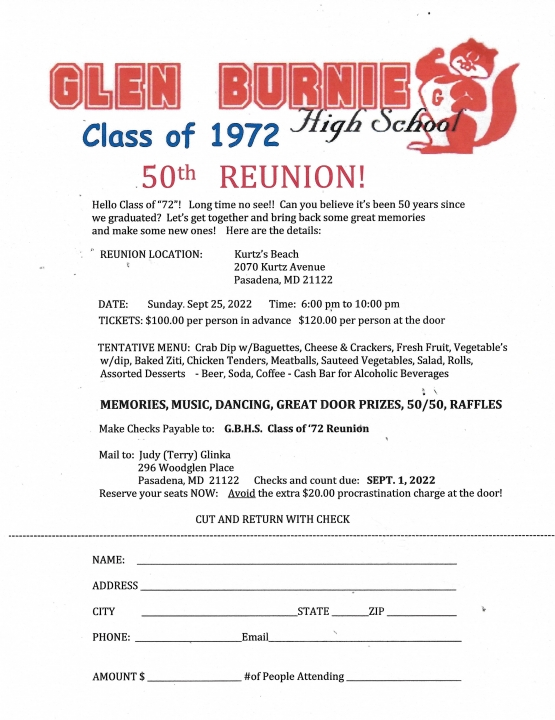 GBHS Class of 1972 50th Year REunion