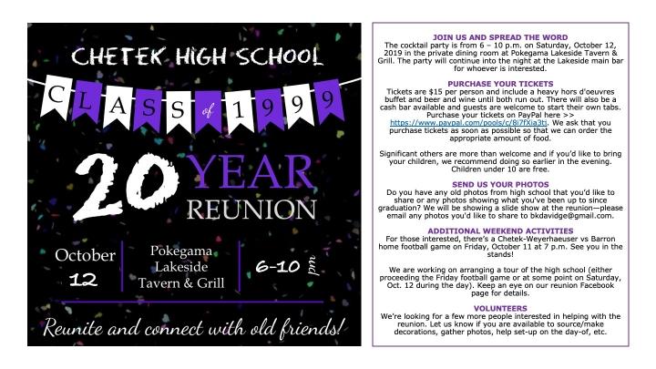 Chetek HS Class of '99—20 Year Reunion
