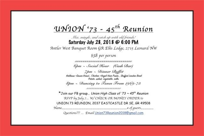 Class of 73 - 45th Reunion